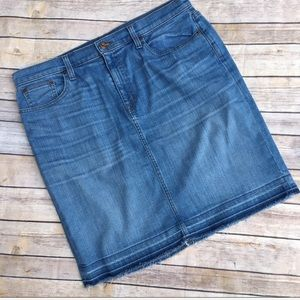 J Crew raw edge stretch denim skirt